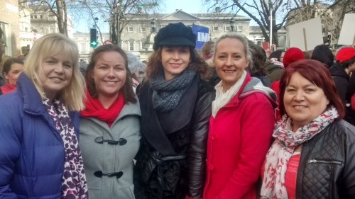 Sandra McLellan with childcare workers in the ACP protest outside the Dáil