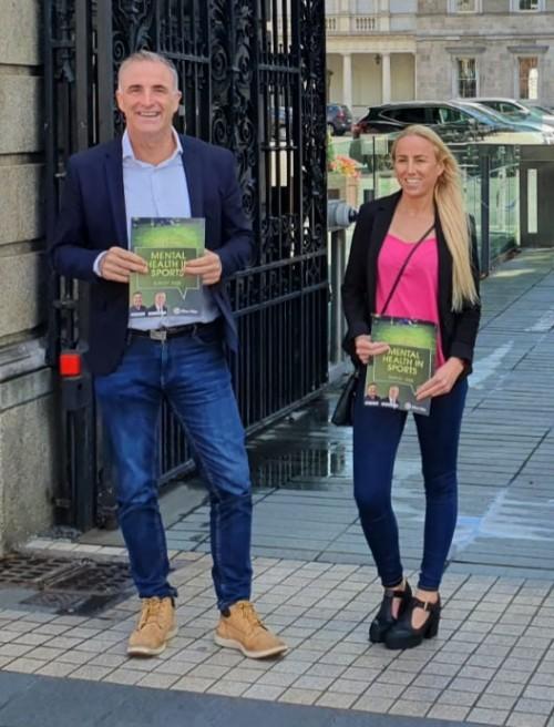 Chris Andrews TD and former Ireland international Caroline Thorpe earlier this week.