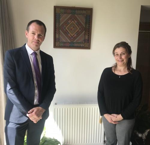 Deputy Brady with the Palestinian Ambassador to Ireland Dr. Jilan Abdalmajid