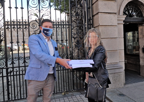 Mark Ward receives petition outside Leinster House