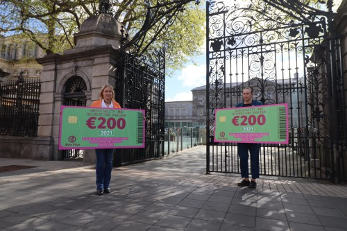 Imelda Munster TD and Louise O'Reilly outside Leinster House